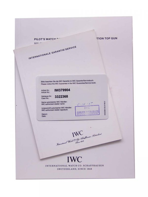 IWC Top Gun Split-Second Chronograph for Carlson Boutique w/ B&P circa 2009
