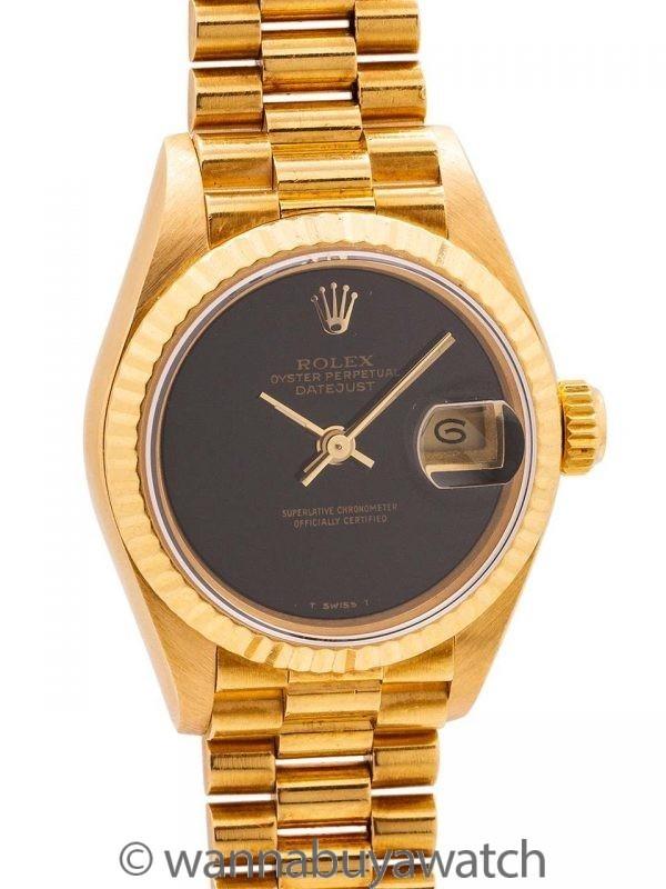 Rolex Lady President 18K YG ref 69178 Onyx Dial circa 1987