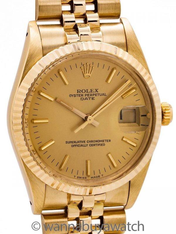Rolex Oyster Perpetual Date ref 15037 14K YG circa 1985