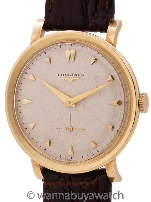 Longines Dress Watch 14K YG Chevron Dial circa 1954