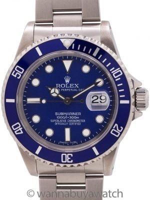 Rolex Submariner ref 16610 Custom Blue Dial & Bezel circa 1998