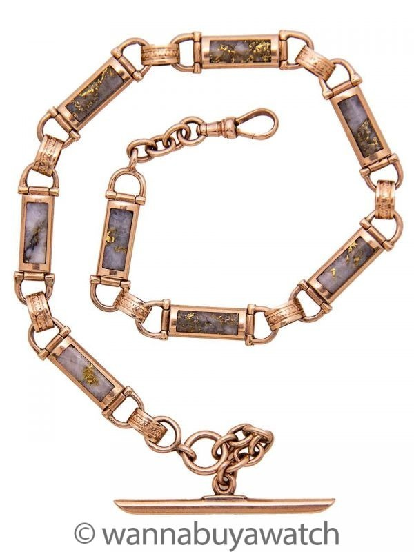 Gold Bearing Quartz Pocket Watch Chain circa 1900