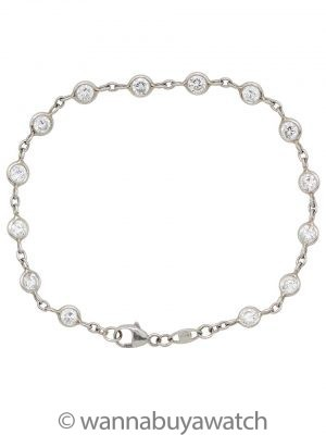 Platinum & Diamond Bezel Set Chain Bracelet 2.00ct