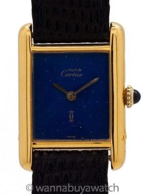 """Cartier Tank Louis Lady's Vermeil """"Lapis"""" Dial circa 1970s"""
