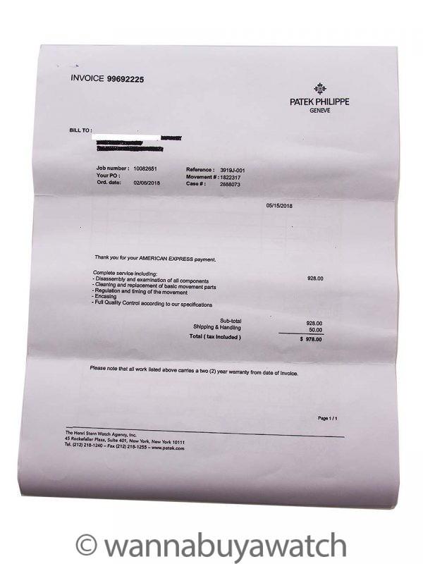 Patek Philippe ref 3919J Calatrava 18K YG circa 1991 Service Papers