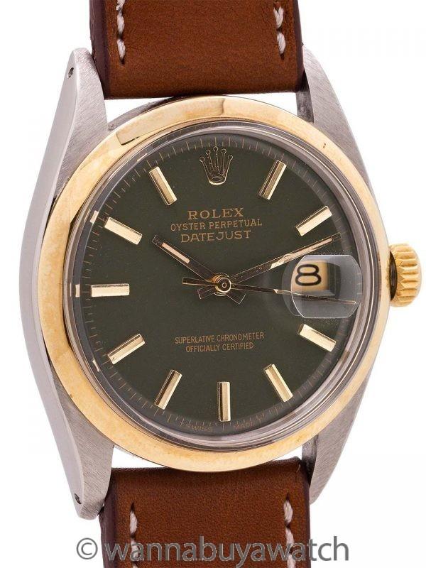 "Rolex Datejust ref 1601 SS/14K YG ""Army Green"" circa 1972"