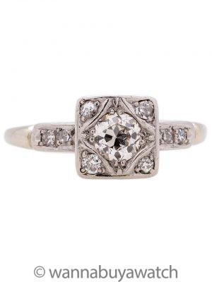 Vintage Art Deco Engagement Ring 14K WG  circa 1930s
