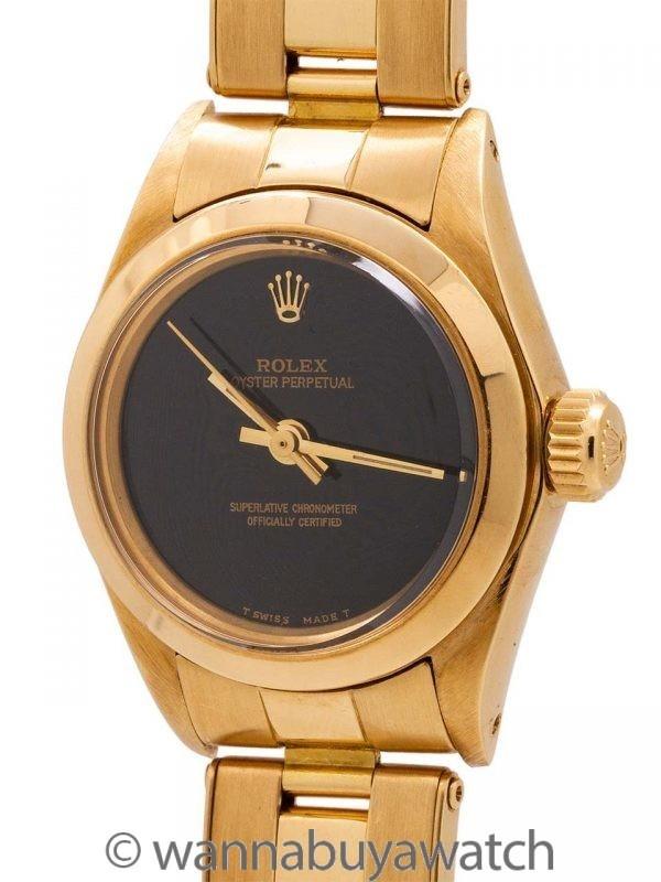 Lady Rolex Oyster Perpetual 18K YG ref 6718 Onyx Dial circa 1979