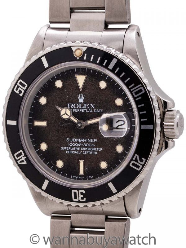 Rolex Submariner ref# 168000 Transitional Chocolate Tropical circa 1987