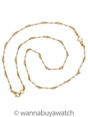 18K & Enamel Bamboo Link Chain Convertible Necklace/Bracelet Set circa 2000s