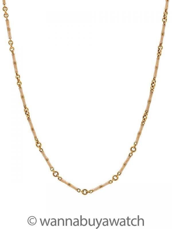 18K & Enamel Bamboo Link Chain Convertible Necklace/Bracelet Set circa 2000s