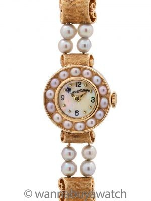 Lucien Piccard 14K YG Pearl Bracelet Dress Watch circa 1960's