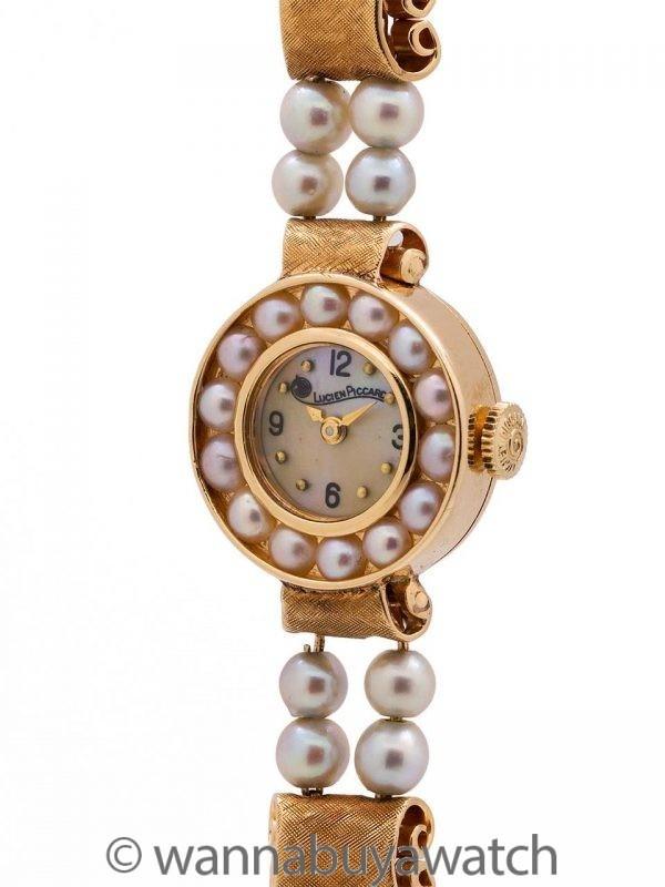 Lucien Piccard 14K YG Pearl Bracelet Dress Watch circa 1960's