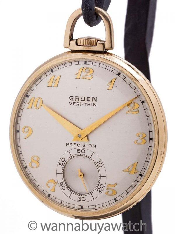 Gruen YGF 12-S Open Face Pocketwatch circa 1940's