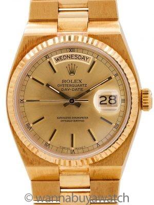 Rolex 18K YG Oyster Quartz Day Date  ref 19018 circa 1989 B & P