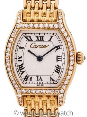 "Cartier Tortue Ladies 18K YG Diamond Set circa 2000's ""Amor"""