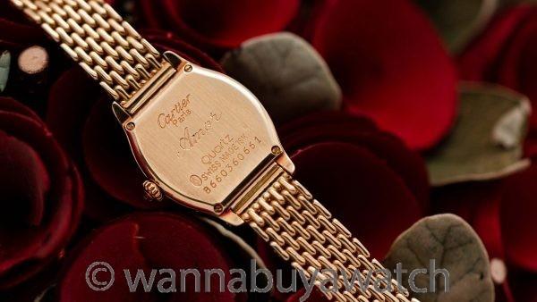 "Cartier Tortue Ladies 18K YG Diamond Set circa 2000's ""Amor"""