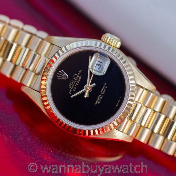 Rolex Lady Datejust President 18K YG ref 69178 Onyx Dial circa 1985