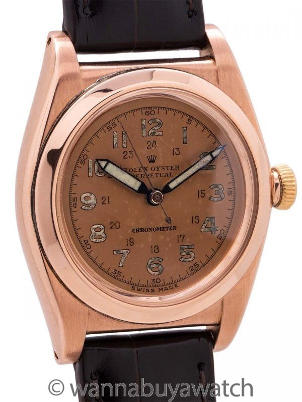 Rolex Bubbleback Pink Gold/SS Tropical circa 1945