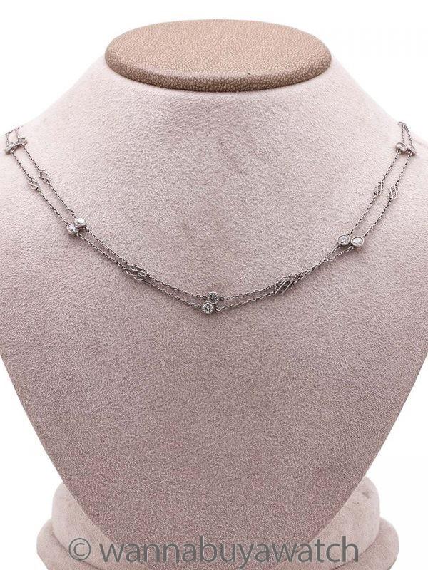 "Vintage Style Handmade Diamond Chain Necklace 4.50ctw 42""  circa 2000s"