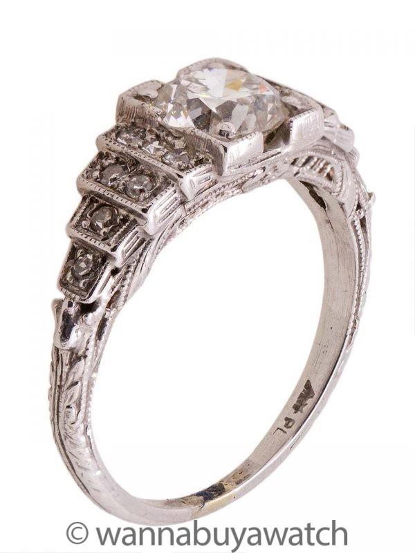 Vintage Art Deco Engagement Ring Platinum 1.23ct OEC H/VS1 circa 1920s