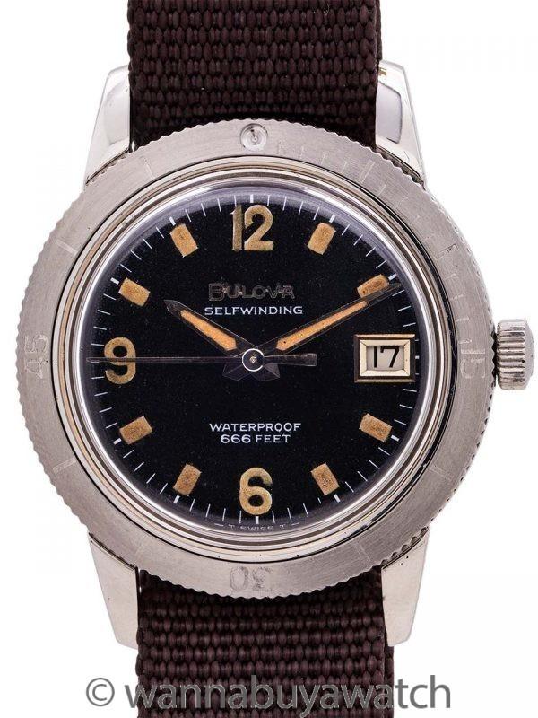 "Bulova Diver's ""Snorkel""  666 feet circa 1960's"