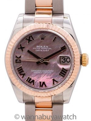 Rolex Datejust ref 178271 SS/18K RG Midsize MOP B & P circa 2008