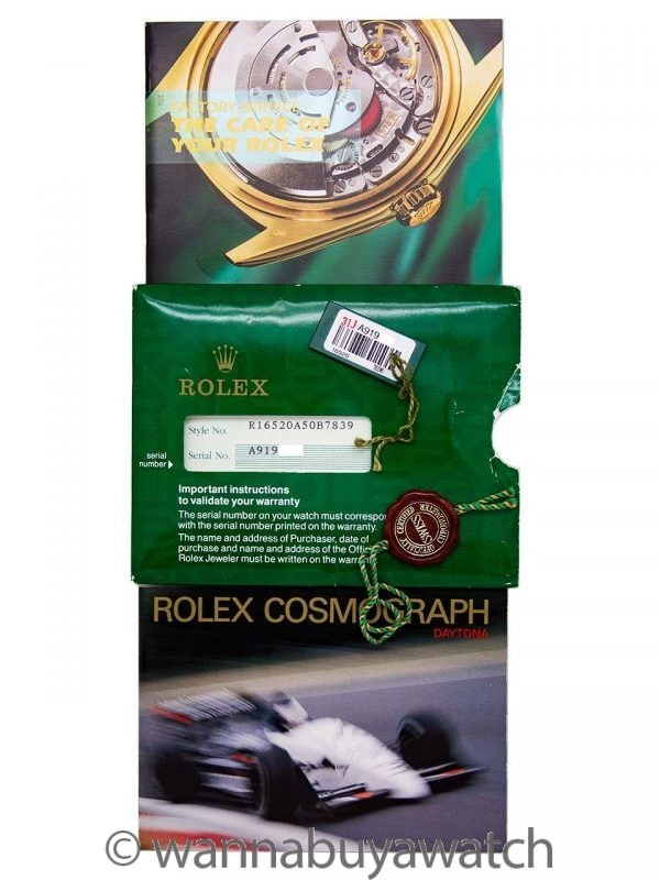 Rolex Daytona ref 16520 Zenith circa 1999 Box, Tags, Booklets & Papers Unworn NOS!