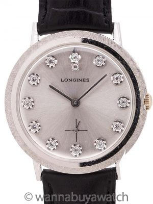 Longines 14K WG Diamond Set circa 1960's