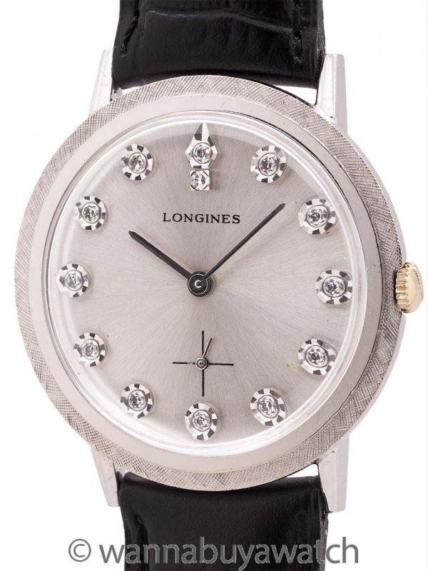 Longines 14K WG Diamond Set circa 1960's