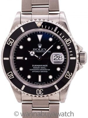 Rolex Submariner ref# 16610 circa 1995 Tritium Box & Papers