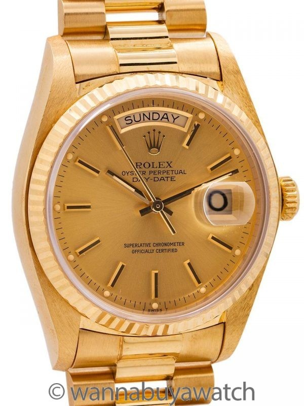 Rolex ref 18038 Day Date President 18K YG circa 1978 Box & Papers
