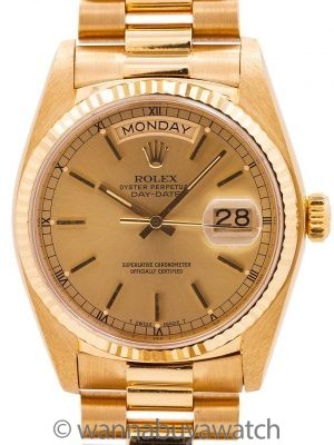 Rolex Day Date President 18K YG ref 18238 Double Quick circa 1990