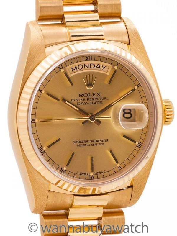 Rolex Day Date President 18K YG ref 18238 Double Quick circa 1995