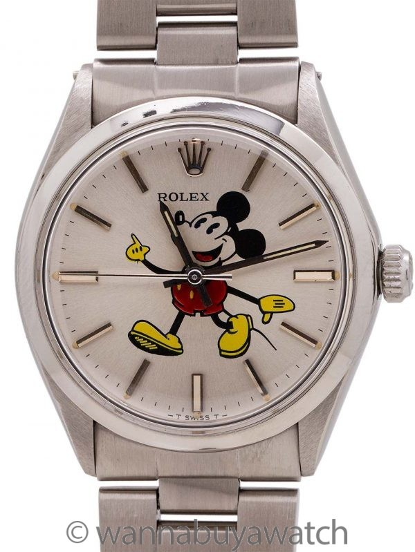 Rolex SS Air King Ref# 5500 custom Mickey Mouse circa 1981