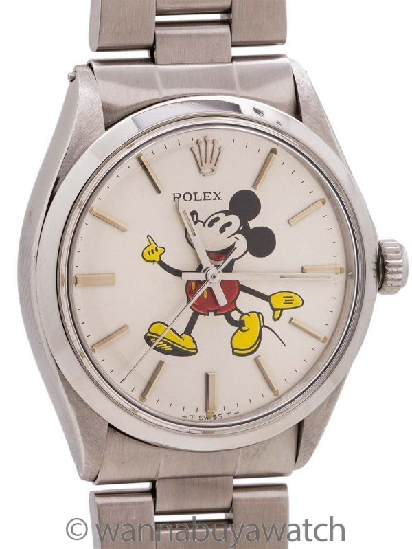 Rolex Oyster Perpetual ref # 5500 custom Mickey Mouse circa 1981
