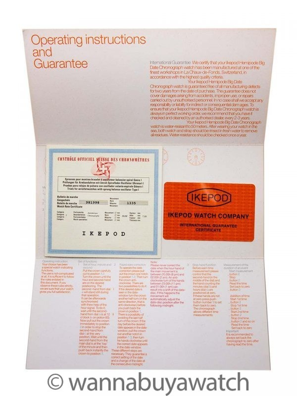 Ikepod Hemipode Chronograph circa 2010 w/ Box & Papers