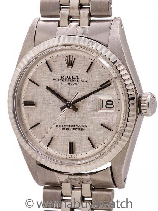 Rolex Datejust SS/14K WG Linen Dial ref 1601 circa 1969