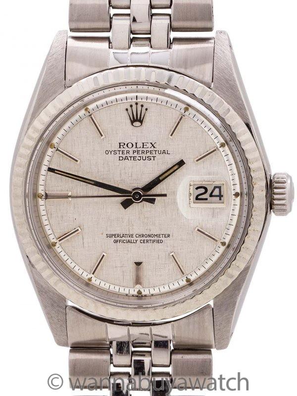 Rolex Datejust ref 1601 SS/14K WG Linen Dial circa 1972