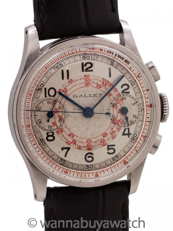 Gallet Millitary Style Chronograph Stainless Steel circa 1940's