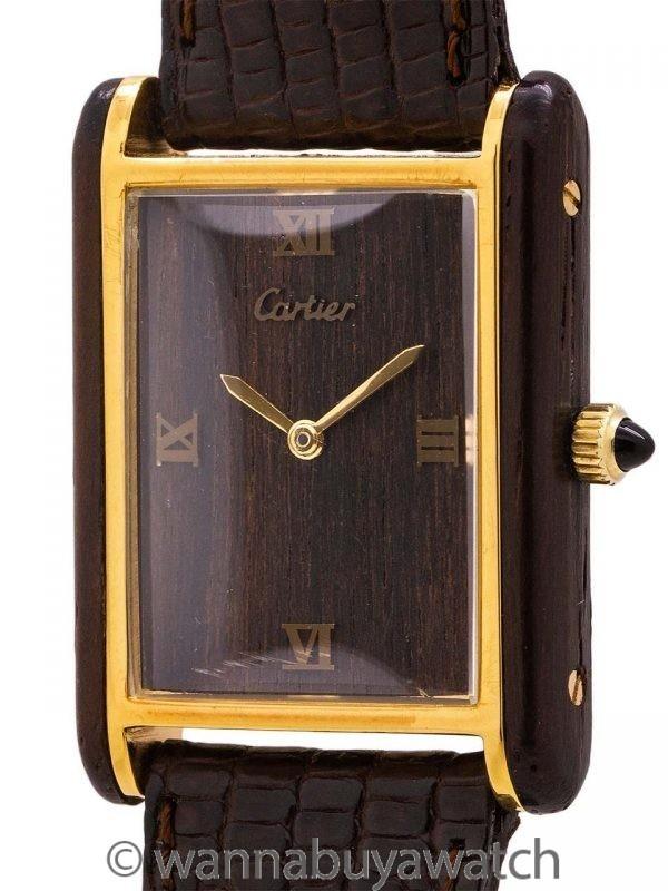 Cartier Tank Louis Man's Wood Case circa 1970's