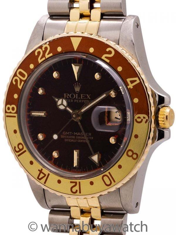 Rolex GMT ref 16753 SS/14K YG Rootbeer circa 1979