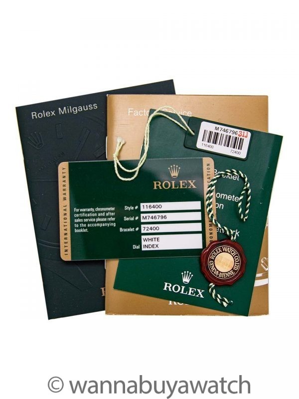 Rolex SS Milgauss ref 116400 White Dial circa 2007 B & P