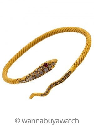 Snake Motif Bracelet 22K YG Rose Cut Diamonds 32.3 grams