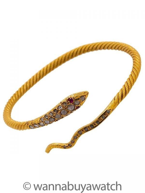 Snake Motif Bracelet 22K YG Rose Cut Diamonds 32.3 grams