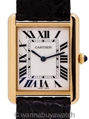 Cartier Man's Tank Solo 18K YG circa 2010's Box & Papers