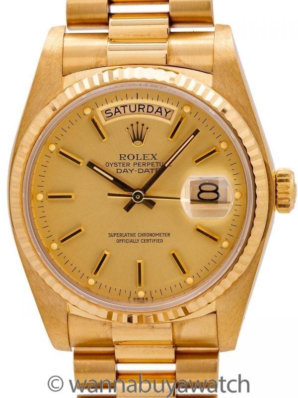 """Full Sticker"" Rolex Day Date President 18K YG ref 18038 circa 1982"