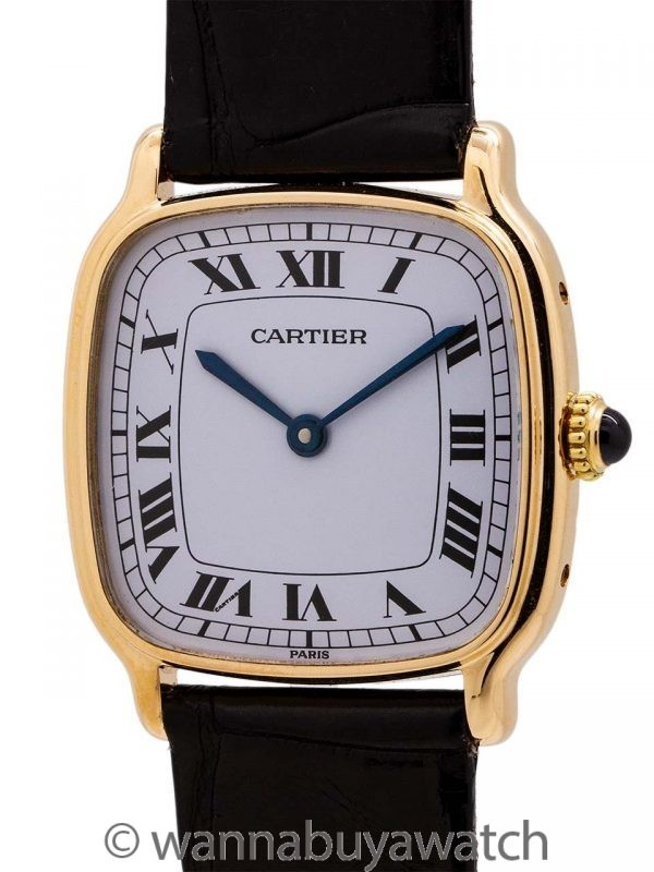 Cartier 18K YG Cushion Manual Wind circa 1970's