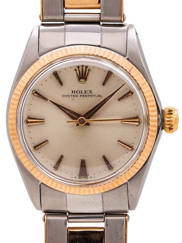 Rolex Midsize SS/14K PG Oyster Perpetual ref 6551 circa 1965