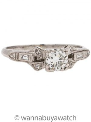 Vintage Engagement Ring Platinum 0.35ct Transitional Cut H/SI1